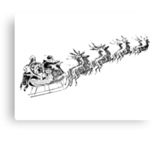 Reindeer Pulling Santa's Sleigh. Old Fashioned Christmas Image. Canvas Print
