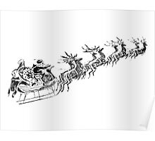 Reindeer Pulling Santa's Sleigh. Old Fashioned Christmas Image. Poster