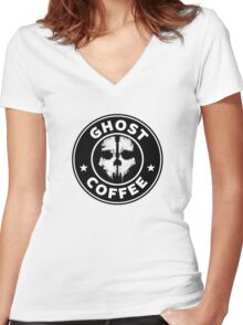 Ghost Coffee 2 Women's Fitted V-Neck T-Shirt