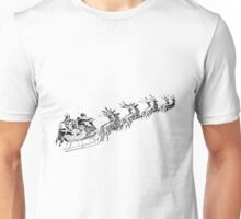 Reindeer Pulling Santa's Sleigh. Old Fashioned Christmas Image. Unisex T-Shirt