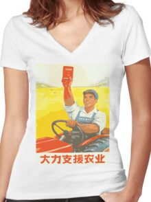 CHINESSE COMMUNIST PARY PROPAGANDA  Women's Fitted V-Neck T-Shirt