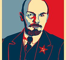 LENIN RED BLUE PORTRET  by SofiaYoushi