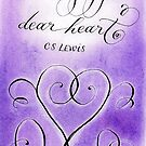 Courage dear heart quote purple calligraphy art by Melissa Goza