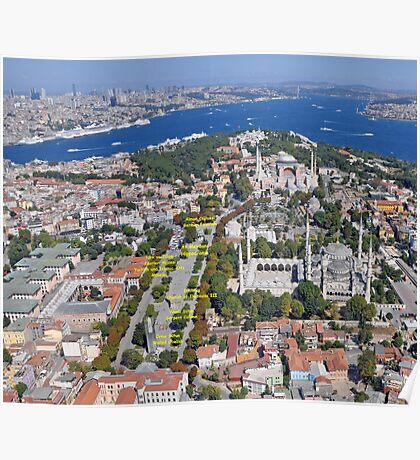Aerial view of Istanbul: Sultanahmet with Hagia Sophia and Blue Mosque Poster