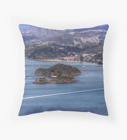 Paihia, Bay of Islands, New Zealand.....from the air.....! Throw Pillow