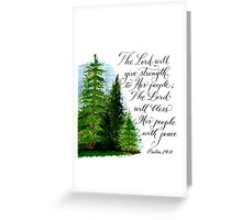 Inspirational handwritten peace verse with trees Greeting Card