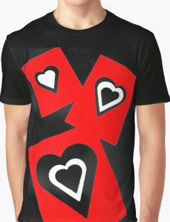 Hearts in Black Red and White  Graphic T-Shirt