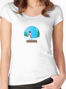 Snowman Snow Globe Women's Fitted Scoop T-Shirt