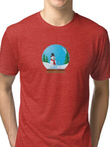 Snowman Snow Globe Tri-blend T-Shirt