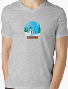 Snowman Snow Globe Mens V-Neck T-Shirt