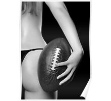 Woman with a Football art photo print Poster