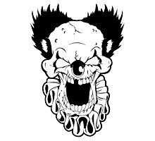 Maniacal Skull Clown Photographic Print