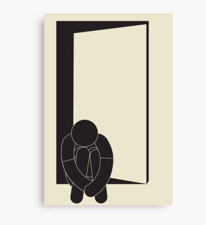 lonely girl at the door Canvas Print