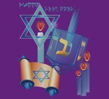 Blue Glass Dreidel-Happy Hanukkah by Lotacats