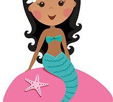 Cute african american mermaid sitting on a pink rock by MheaDesign