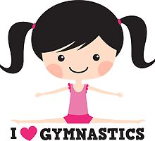 I love gymnastics cute cartoon girl doing the splits by MheaDesign