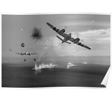 Beaufighters attacking E-boats black and white version Poster