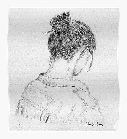 Young Woman Portrait from Behind - Artistic Sketch Poster