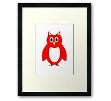 Red And White Owl Design Framed Print