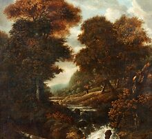 JACOB VAN RUISDAEL CIRCLE OF, LANDSCAPE WITH FIGURES AND WATERFALL. by Adam Asar
