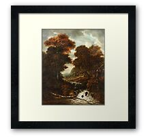 JACOB VAN RUISDAEL CIRCLE OF, LANDSCAPE WITH FIGURES AND WATERFALL. Framed Print