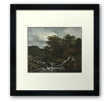 Jacob Isaacksz. van Ruisdael  WATERFALL IN A HILLY WOODED LANDSCAPE 2 Framed Print