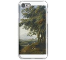 Jakob Philipp Hackert AN ITALIAN CAPRICCIO VEDUTA, WITH A GREEK TEMPLE NEAR A SHORELINE, AND A DISTANT VOLCANO iPhone Case/Skin