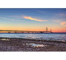 Mackinac Bridge Dusk Photographic Print