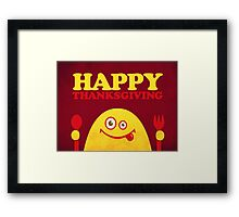 Hungry Cartoon Character Funny Thanksgiving Framed Print