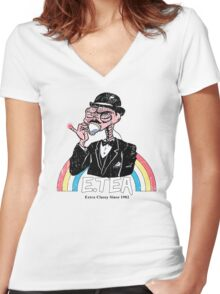 E.Tea Women's Fitted V-Neck T-Shirt