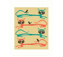 BIRDS ON A CAT Art Print
