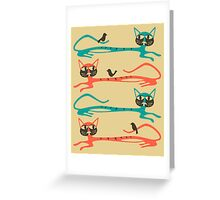 BIRDS ON A CAT Greeting Card