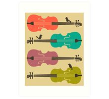 BIRDS ON A CELLO STRING Art Print