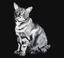 Salt Water Tabby Graphic ~ black and white  One Piece - Short Sleeve