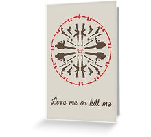 Mandala psycho killer red brown Greeting Card