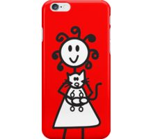official curly hair large girl cat phone case - red iPhone Case/Skin