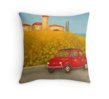 Vintage Red Fiat 500  Throw Pillow