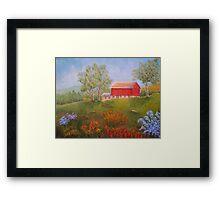 New England Red Barn in Summer Framed Print
