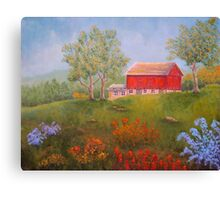New England Red Barn in Summer Canvas Print