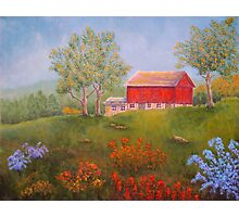 New England Red Barn in Summer Photographic Print