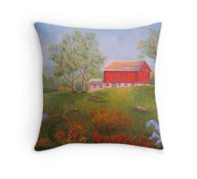 New England Red Barn in Summer Throw Pillow