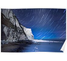 White Cliffs of Dover on a Starry Night Poster