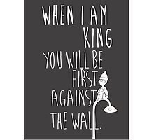 """When I am King, you will be first against the wall."" Radiohead - Light Photographic Print"