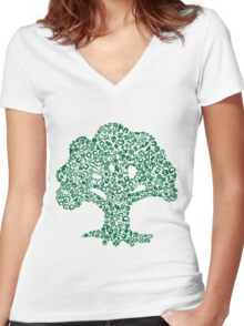 Forest Mosaic Women's Fitted V-Neck T-Shirt