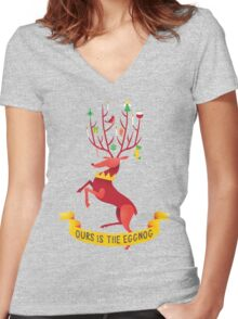 Ours is the eggnog Women's Fitted V-Neck T-Shirt