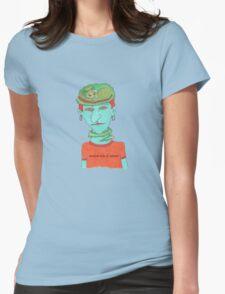 green cat on blue head T-Shirt