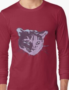 Cool Cat Head Graphic ~ cranberry Long Sleeve T-Shirt