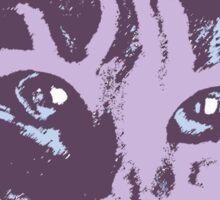 Cool Cat Head  ~ Lavender  Sticker