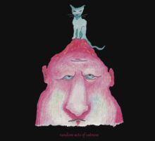 blue cat on pink head by Arthur Squire
