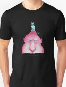 blue cat on pink head T-Shirt